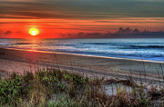 Oats Prints - Sunrise Over the Ocean Ocracoke Island Outer Banks I Print by Dan Carmichael