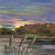 Rural Living Painting Posters - Sunrise Over the Ponds Poster by Anna Folkartanna Maciejewska-Dyba