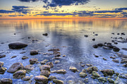 Door County Prints - Sunrise over the Rocks Print by Scott Norris