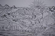 Surrealism Landscape Drawings Prints - Sunrise Over the Scenes Print by Timothy  Foley