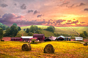 Farming Barns Posters - Sunrise Pastures Poster by Debra and Dave Vanderlaan