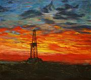 Field Painting Posters - Sunrise Rig Poster by Karen  Peterson