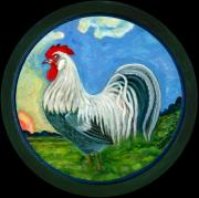 Polish American Painters Paintings - Sunrise Rooster by Anna Folkartanna Maciejewska-Dyba