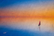 Sunset Seascape Mixed Media Prints - Sunrise Sail Print by Michael Petrizzo