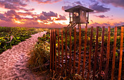 Beach Fence Posters - Sunrise Sentinel Poster by Debra and Dave Vanderlaan