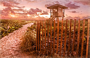 Beach Fence Posters - Sunrise Sentinel Vintage Poster by Debra and Dave Vanderlaan