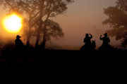Cowboys Prints - Sunrise silhouette ... morning ride Print by Toni Hopper