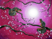Cherry Blossoms Painting Originals - Sunrise Squirrels by Laura Iverson