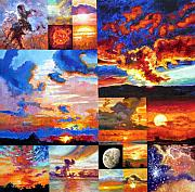Sunrise Painting Originals - Sunrise Sunset Sunrise by John Lautermilch
