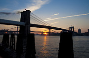 Nyc Digital Art Posters - Sunrise Through the Two Bridges Poster by Bill Cannon