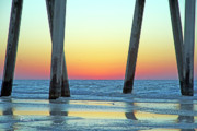 Pensacola Fishing Pier Posters - Sunrise under the Pensacola Fishing Pier Poster by Richard Roselli
