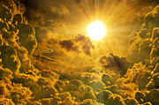 Vivid Colour Mixed Media Posters - Sunrise With Clouds Poster by Nattapon Wongwean