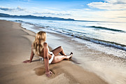 Surf Lifestyle Framed Prints - Sunrise woman Framed Print by MotHaiBaPhoto Prints