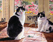 Contemporary Animal  Acrylic Paintings - Sunroom Rendezvous by Lynette Cook