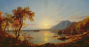Setting Sun Paintings - Sunset - Lake George by Jasper Francis Cropsey