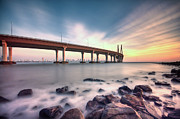 India Photo Acrylic Prints - Sunset - Sea Link Acrylic Print by Brendon Fernandes