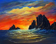 Sunset Greeting Cards Painting Posters - Sunset 2 Poster by Bozena Zajaczkowska