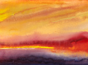 Gouache Paintings - Sunset 21 by Miki De Goodaboom
