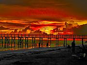 Pier Digital Art - Sunset 4th of July by Bill Cannon