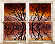 James Insogna Framed Prints - Sunset Abstract Rustic Picture Window View Framed Print by James Bo Insogna