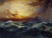 Oceans Paintings - Sunset After a Storm by Thomas Moran
