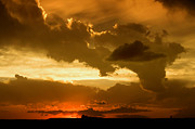 Cloudscape Digital Art Posters - Sunset after the Storm Poster by Ellen Lacey
