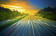 Blurred Motion Photos - Sunset, After Work On 101 Freeway! by Albert Valles
