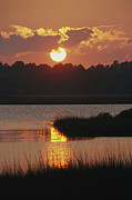 Water Scenes Photos - Sunset Along The Intercoastal Waterway by Raymond Gehman