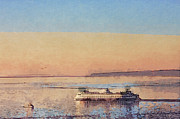 Sunset And Ferry Print by Arthur Kuntz
