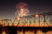 Susquehanna River Photos - Sunset and Fireworks by Deborah  Crew-Johnson