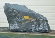 River Sculpture Prints - Sunset and Mountains Print by Monika Dickson