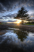 Puddle Prints - Sunset And Puddle Reflections 2.0 Print by Yhun Suarez