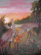Cranes Pastels Prints - Sunset And Sandhills Print by Curt Peifley