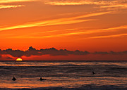Orange County Art - Sunset and surfers by Carl Jackson