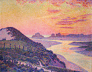 Purple Paintings - Sunset at Ambleteuse Pas-de-Calais by Theo van Rysselberghe