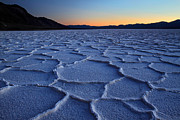 Dry Lake Photos - Sunset at Badwater in Death Valley by Pierre Leclerc