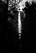 Fall Photographs Posters - Sunset At Bridalveil Fall . Black and White Poster by Wingsdomain Art and Photography