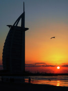 United Arab Emirates Posters - Sunset at Burj Al Arab Poster by Graham Taylor
