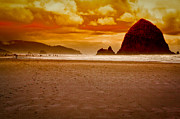 Sandy Beaches Posters - Sunset at Cannon Beach Poster by David Patterson