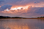 Sunset Greeting Cards Posters - Sunset at Carter Lake Colorado Poster by James Steele