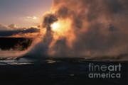 Geysers Prints - Sunset at Clepsydra Geyser Print by Sandra Bronstein