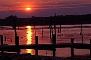 Pilings Photos - Sunset at Colonial Beach by Clayton Bruster