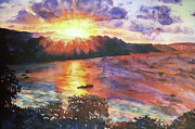 Fiber Art Paintings - Sunset at Consett Bay Barbados by Deborah Younglao