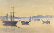 Sailboat Paintings - Sunset at Constantinople by M Baillie Hamilton