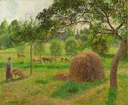 Haystack Paintings - Sunset at Eragny by Camille Pissarro