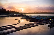 River Scene Posters - Sunset At Fisherman Villages  Poster by Setsiri Silapasuwanchai