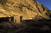 Rock Shelter Metal Prints - Sunset At Gallo Cliff Shelter In Chaco Metal Print by Rich Reid