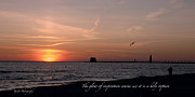 Sunset Jewelry Prints - Sunset at Grand Haven Light Print by Melissa Huber