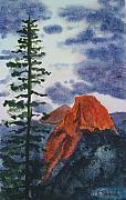 Yosemite Painting Framed Prints - Sunset at Half Dome Framed Print by Ally Benbrook