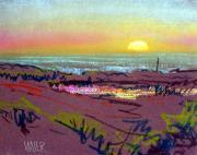 Bay Pastels Posters - Sunset at Half Moon Bay Poster by Donald Maier